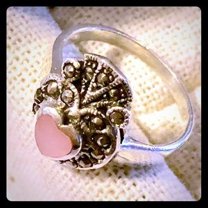 Jewelry - 925 Sterling Silver Pink Heart Marcasite Ring